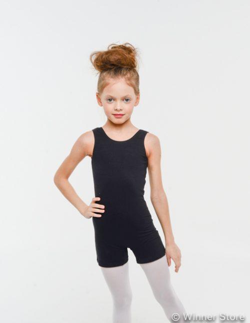 черный хлопковый гимнастический комбинезон