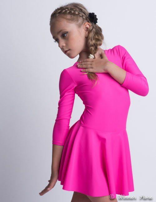 розовый лайкровый гимнастический купальник