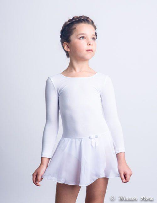 белый хлопковый гимнастический купальник