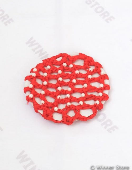 красная сетка для волос с бисером