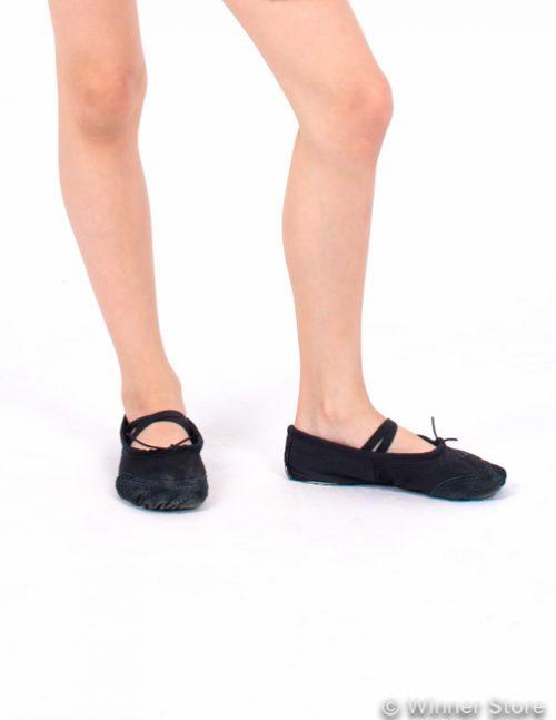 черные балетки с кожаным мысиком