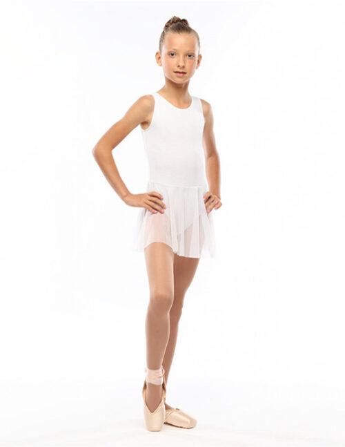 Белый гимнастический купальник с юбкой